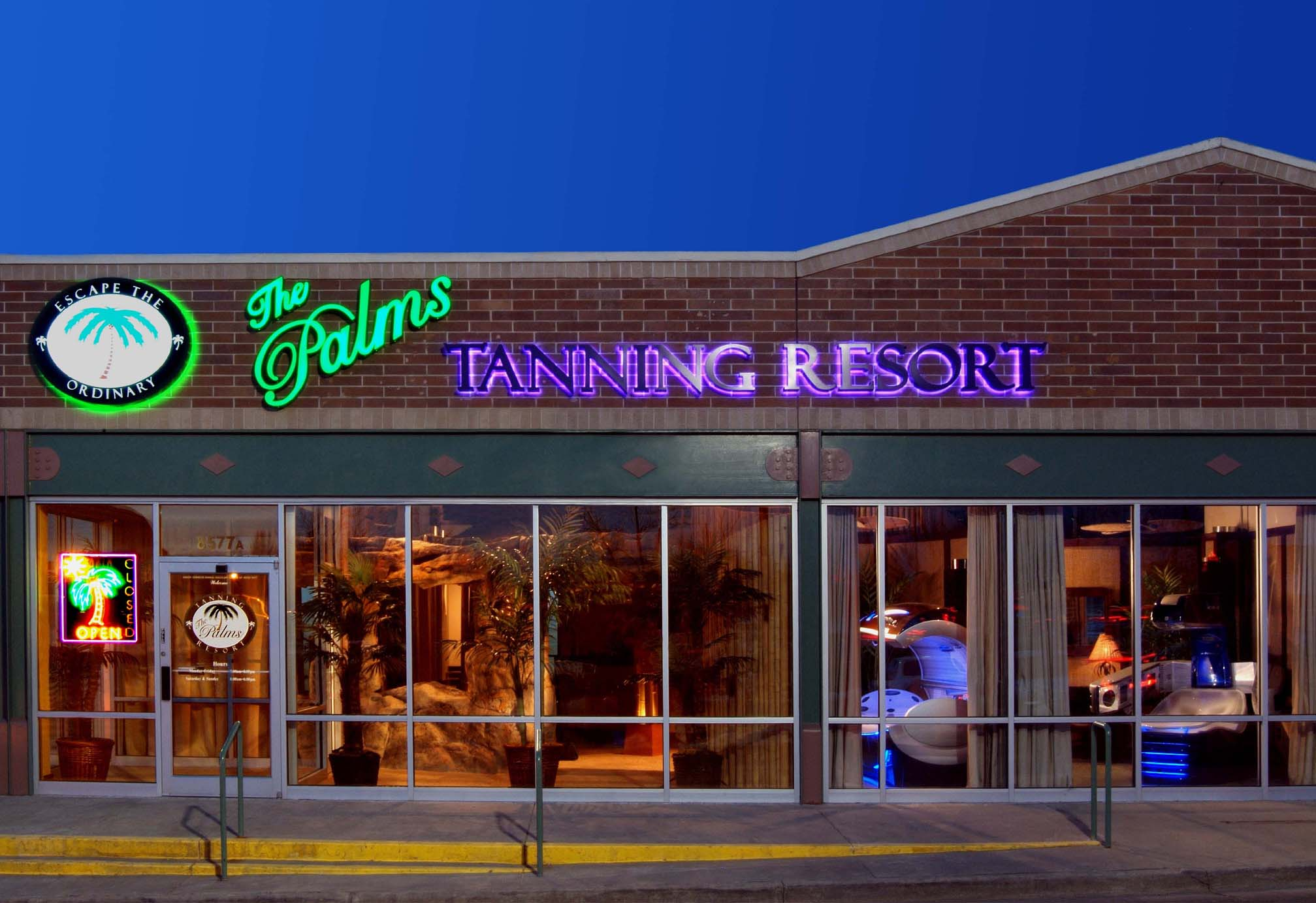 the palms tanning resort is the official tanning salon of the the palms store front tanning bungalows