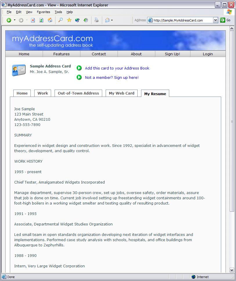 Resume address