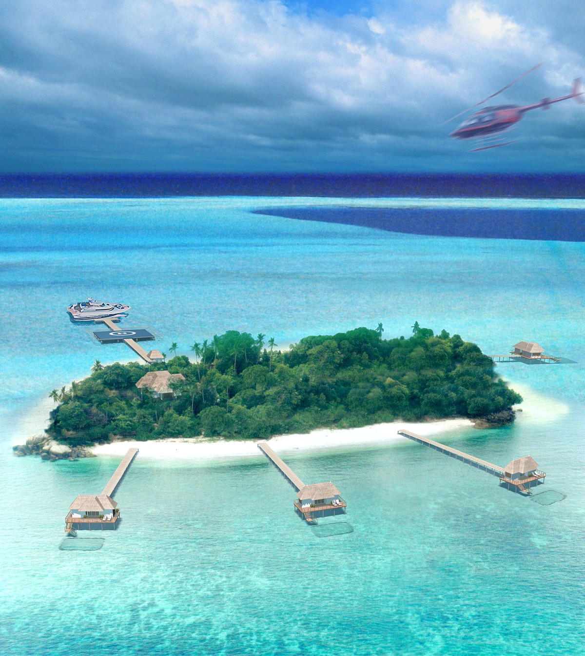 Private Island Beaches: Room With A View And A Helicopter Club 151 Resorts IntL
