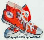 """'ORANGE' acrylic and watercolor on canvas from Scott West's """"SHOES"""" show"""
