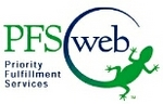 "PFSweb logo -- ""LEO"" the lizard (actually a chameleon) represents the flexibility and change of a BPO that is ""Leading the Evolution of ""Outsourcing"""