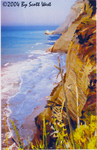 "Scott West's painting ""Cliffs of Perouladhes"" is of the famous romantic beach on the Greek island of Corfu, where the James Bond thriller 'For Your Eyes Only' was filmed."