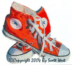 Scott West's painting ORANGE from West's 2004 International SHOES Show