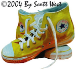 Scott West's painting YELLOW from West's 2004 SHOES Show