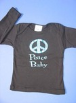 Peace Baby / blue sparkle on black T