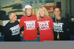 "Stars of Denver's ""Salute to America's First Caretakers,"" L-R, Champion Speed Skier Stew Young (Tulalip), Cal. Gold Medal Freestyler Jonny Moseley, Olympian Suzy Chaffee, and Colleen Lloyd (Cherokee) designer of hot Indian ""Homeland Security"" T-shirt."