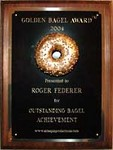 Golden Bagel Award™ presented to Roger Federer