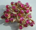 Signed Julius Cohen Ruby and Diamond Brooch