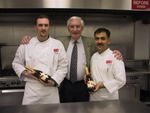 Chef Anil Rohira (far right), newcomer to L'Academie's teaching staff, with fellow chef, Brian Donaghy, and founder of L'Academie, Francois Dionot (center).