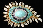 Dome Brooch with Turquoise Cabochon Center