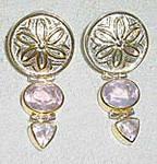Rose Quartz and White Topaz Sterling Silver Earrings