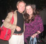 Julie Kenney, Founder of Jewels and Pinstripes and Dan Brown, author of The DaVinci Code , a New York Times Best Seller.  Each Celebrity Gift Bag contained the book autographed by Dan Brown. Photo Credit: Lisa O'Connor, Jewels and Pinstripes.