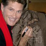 David Hasselhoff signing 1995 Xmas Baywatch Bomber Jacket