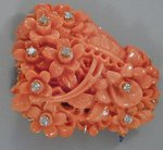Red Coral Brooch with Brilliants