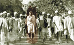 On the March Gandhi leads the Salt March