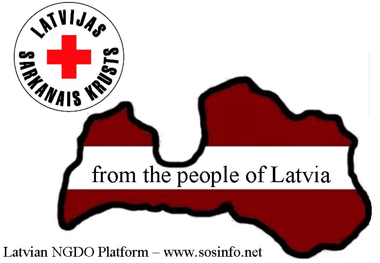 Donation Carton Label - from people of Latvia