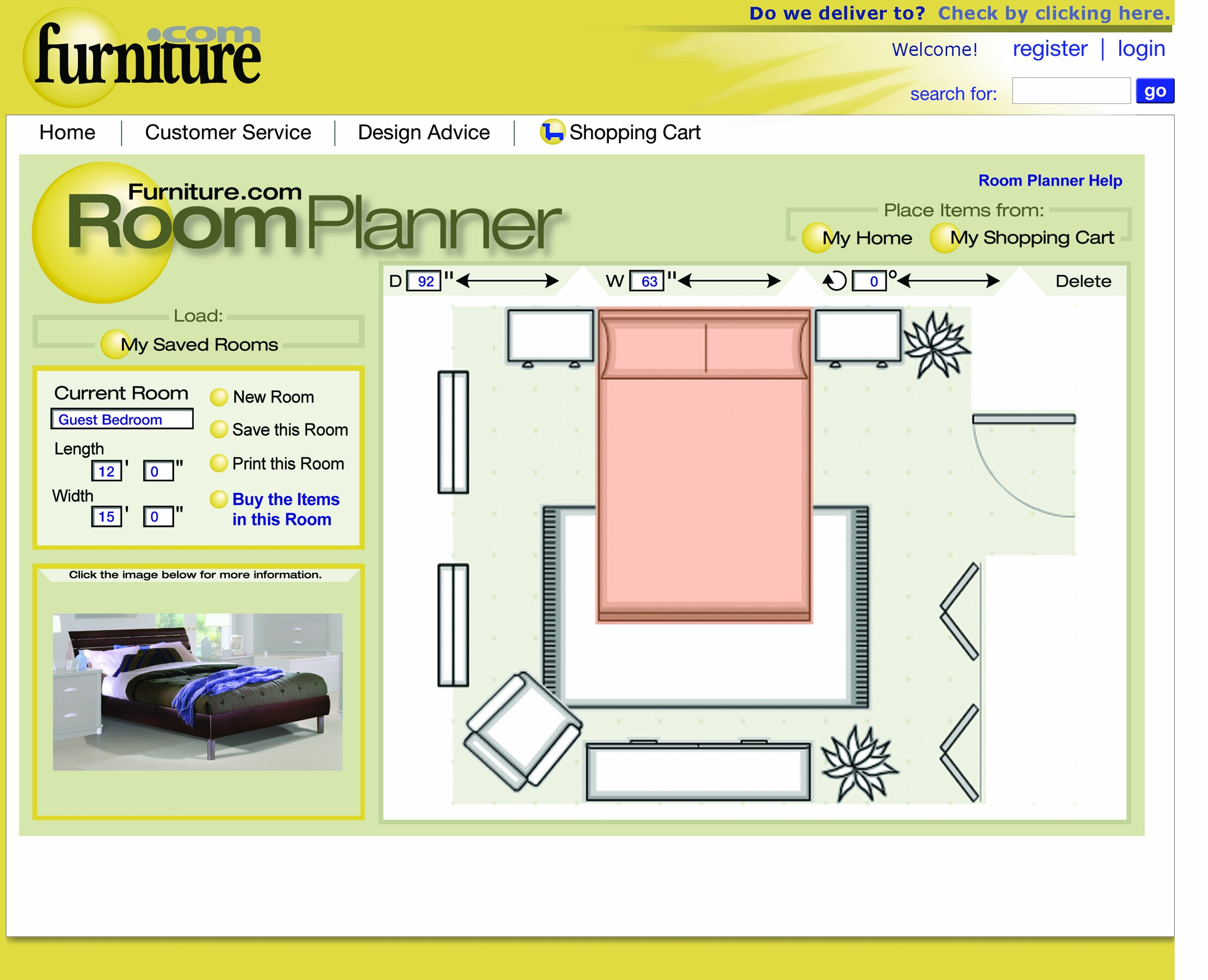 Interactive online room planner from helps for Online bedroom planner