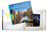 Example cover and open book of Amazing Alphabet Adventures