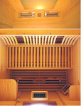 Inside an infrared sauna