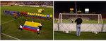 Columbian Flag and HI-POD behind goal.