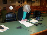 Nancy Piwowar signing resolution
