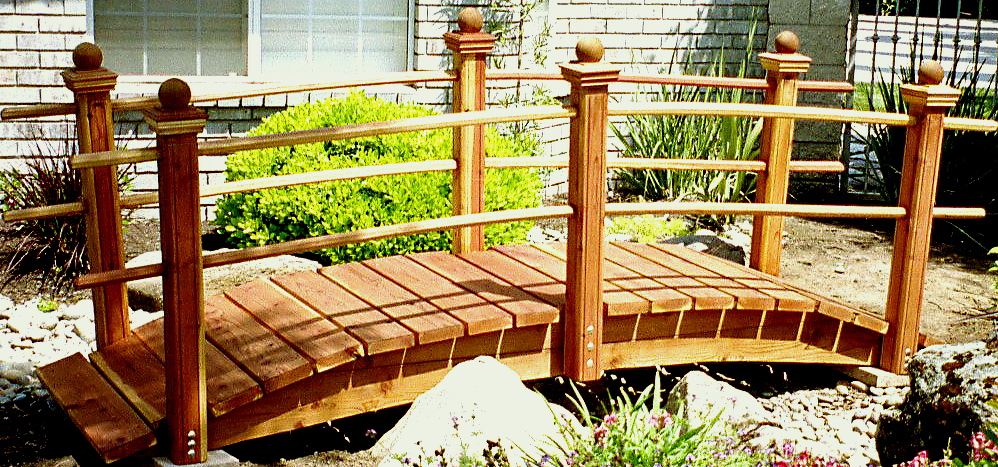 10 ft redwood garden bridgea 10 ft redwood garden bridge placed over a japanese garden in clovis - Japanese Wooden Garden Bridge