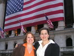 Artist Kim Luttrell (R) with Amy Wilson (L) in front of the NYSE