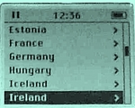Selecting a country on The Irish Pubs Directory iPod Edition