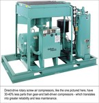 Direct-drive rotary screw air compressors, like the one pictured here, have 30-40% less parts then gear-and belt- driven compressors- which translate into greater reliability and less maintenance