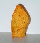 View of the Doritos chip being auctioned that resembles the Pope's hat.