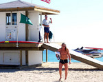 Hollywood Beach Lifeguards at the Beach Access of Villa Sinclair Beach Suites & Spa