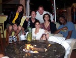 With Friends by the Fireplace at Villa Sinclair Beach Suites & Spa Hollywood Beach, Florida