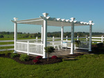 Mt. Hope Pergola with components extruded by Homeland Vinyl Products