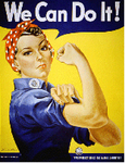 Rosie the Riveter in a WWII recruiting poster