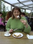 Latvian lady eating waffle at LIDO