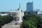 Skyline view of Riga Latvia including Freedom Monument