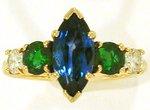 2.65 ct Sapphire, Emerald, Diamond Righthand Ring