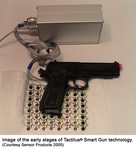 Image of the early stages of Tactilus Smart Gun technology