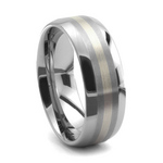 Always polished Tungsten Carbide wedding band with 14kt white gold inlay.