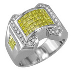 Mens Fancy Yellow and White Diamond Ring