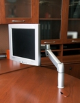 Flat panel LCD monitor mounted on SpaceArm saves space