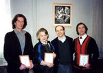 Perm Artistic Director Ludmila Sakharova with Apogee President Kenneth Schneider (center) flanked by Achievement Award laureates and Excellence Award jury members Sergei Chernayev (left) and Yuri Sidorov (right) at the Foundation's first Perm award ceremonies in 2000
