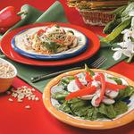 Pasta Primavera, Spinach and Mushroom Salad