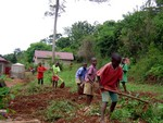 Boys help with gardening at Bethany orphanage
