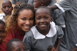Lakita with children in Africa
