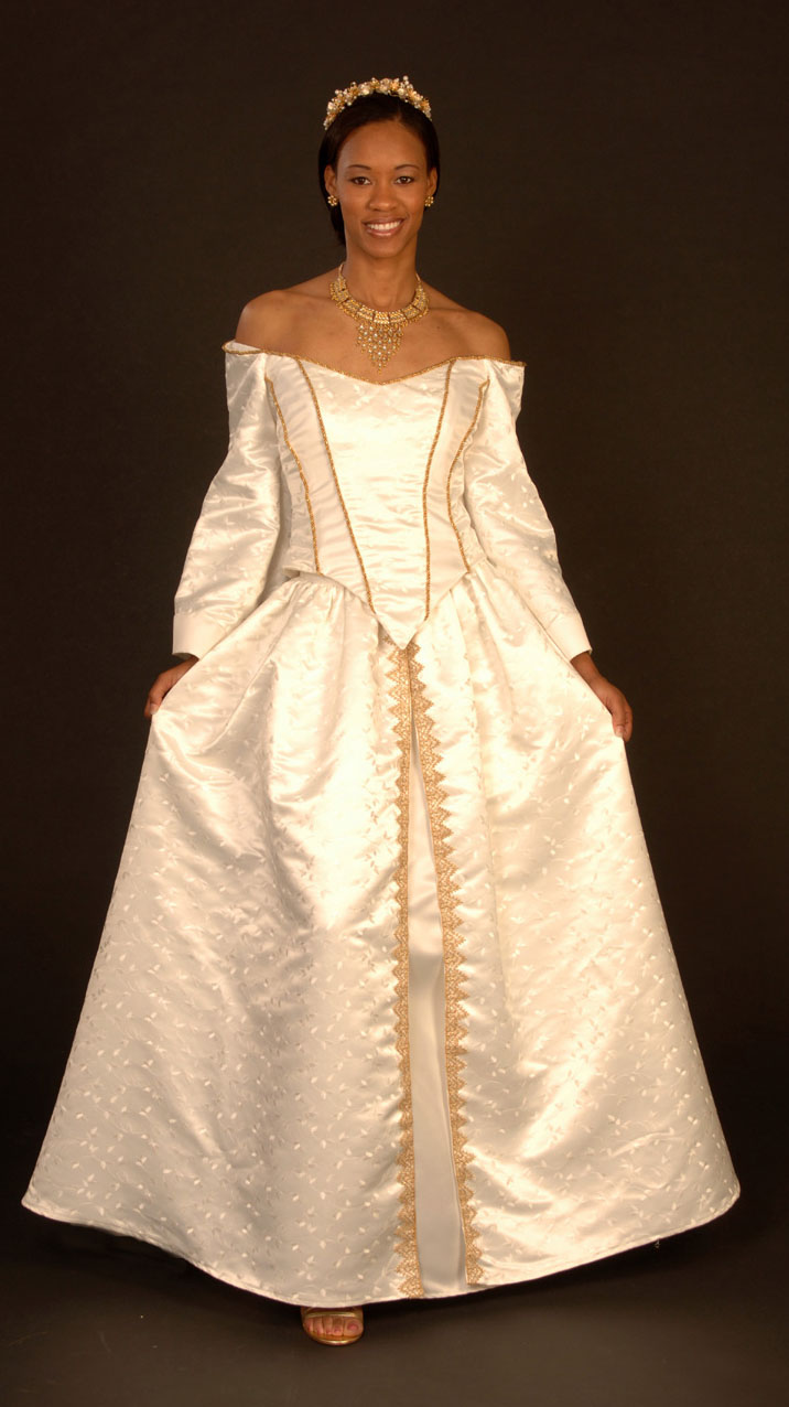 custom made wedding dress product id dsc0307this fabulous wedding attire has bustier top with off shoulder sleeves with contrasting edges