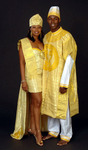 Gold aso-ake wedding dress and groom's suit