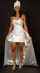 Silver aso-ake African inspired wedding dress