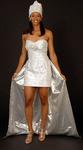 Silver aso-ake African inspired wedding dress
