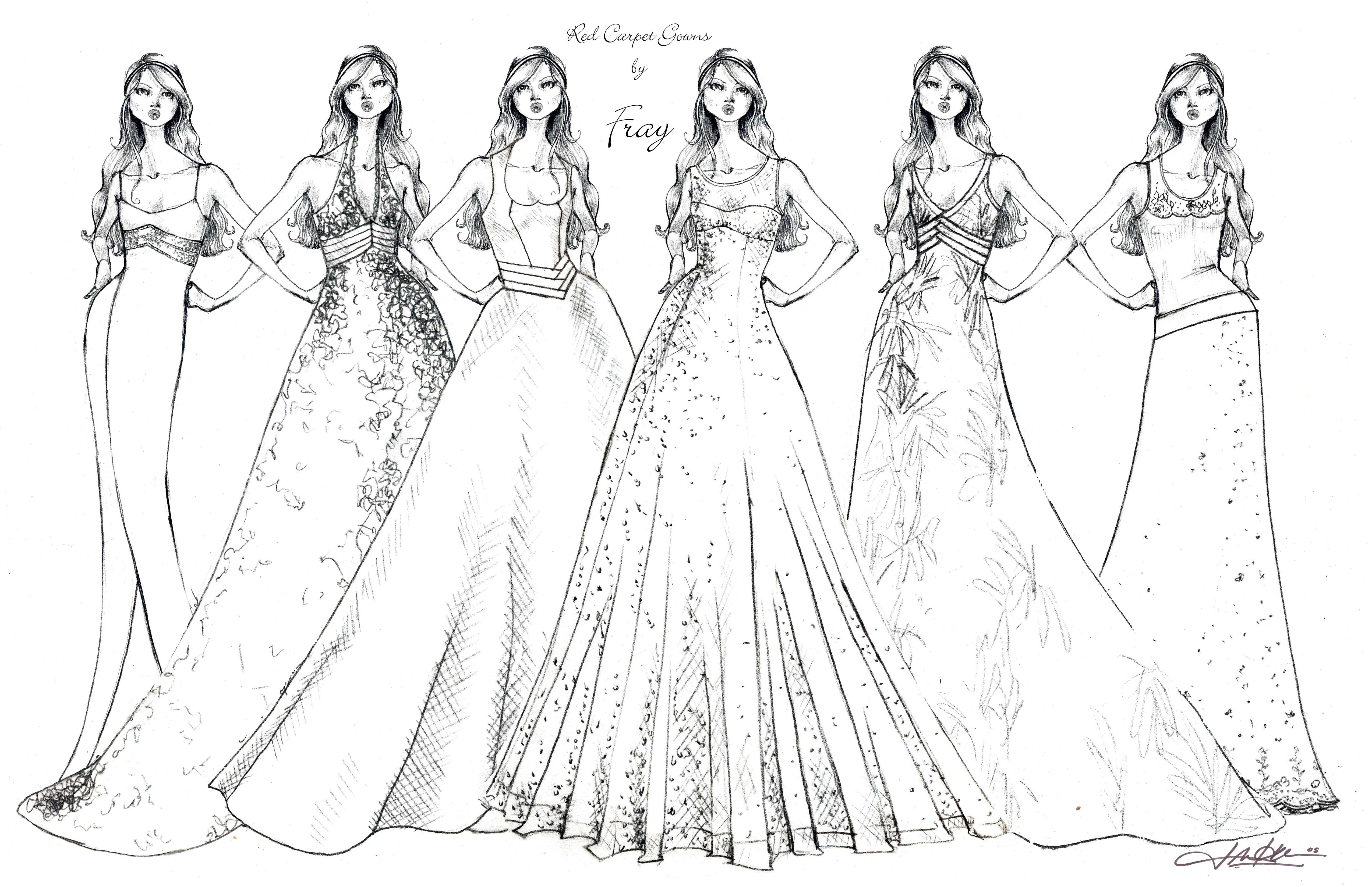 Free Easy Prom Dresses Coloring Pages